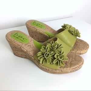 NWOT BOC Flower Cork Wedge Sandals